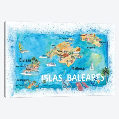 Balearic Islands Illustrated Travel Map With Majorca Ibiza Menorca Landmarks And Highlights Canvas Print #MMB128} by Markus & Martina Bleichner Canvas Artwork