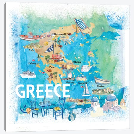Greece Illustrated Travel Map With Landmarks And Highlights Canvas Print #MMB129} by Markus & Martina Bleichner Canvas Art