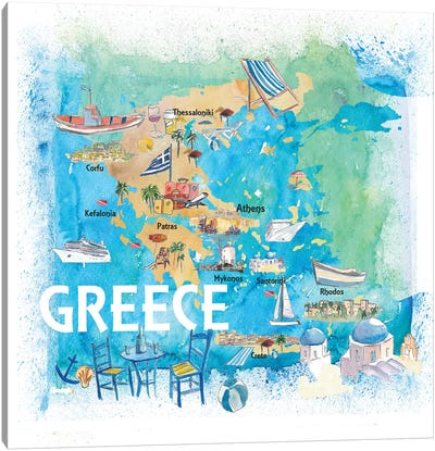 Greece Illustrated Travel Map With Landmarks And Highlights Canvas Art Print