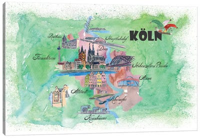 Cologne, Germany Travel Poster Canvas Art Print
