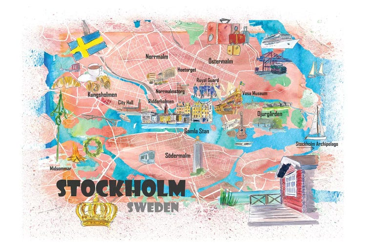 Stockholm Sweden Illustrated Map Markus Martina Bleichner Icanvas