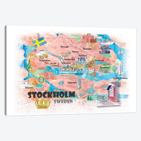 Stockholm Sweden Illustrated Map With Main Roads Landmarks And Highlights Canvas Print #MMB130} by Markus & Martina Bleichner Canvas Art Print