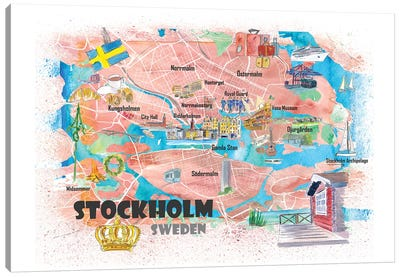 Stockholm Sweden Illustrated Map With Main Roads Landmarks And Highlights Canvas Art Print