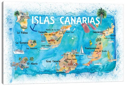 Canary Islands Illustrated Travel Map With Tenerife, Gran Canary, Lanzarote, Fuerteventura La Palma Gomera And Hierro Canvas Art Print