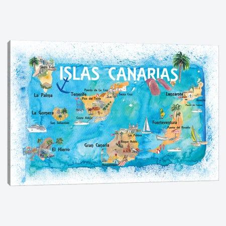 Canary Islands Illustrated Travel Map With Tenerife, Gran Canary, Lanzarote, Fuerteventura La Palma Gomera And Hierro Canvas Print #MMB131} by Markus & Martina Bleichner Art Print