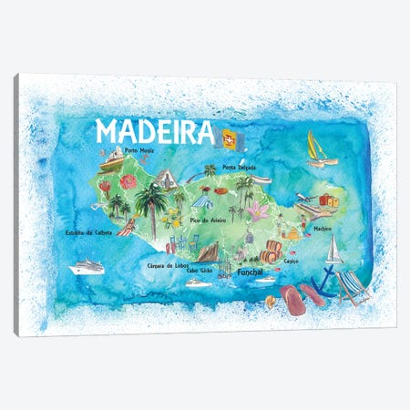 Madeira Portugal Island Illustrated Map With Landmarks And Highlights Canvas Print #MMB132} by Markus & Martina Bleichner Canvas Print