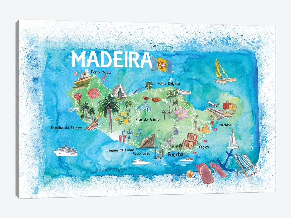 Madeira Portugal Island Illustrated Map With Landmarks And Highlights by Markus & Martina Bleichner 1-piece Canvas Art Print