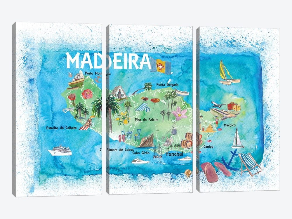 Madeira Portugal Island Illustrated Map With Landmarks And Highlights by Markus & Martina Bleichner 3-piece Canvas Print