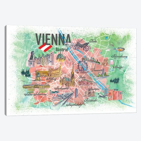 Vienna Illustrated Travel Map With Landmarks And Highlights Canvas Print #MMB133} by Markus & Martina Bleichner Canvas Print