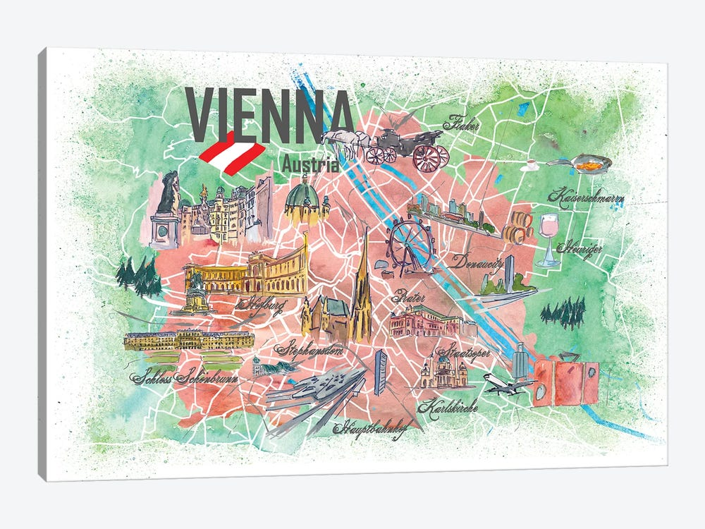 Vienna Illustrated Travel Map With Landmarks And Highlights by Markus & Martina Bleichner 1-piece Canvas Artwork