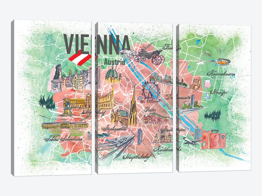 Vienna Illustrated Travel Map With Landmarks And Highlights by Markus & Martina Bleichner 3-piece Canvas Art