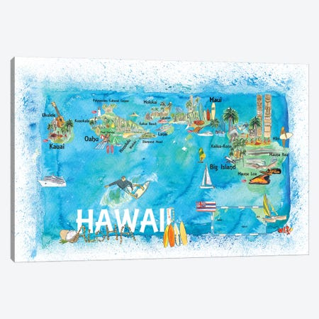 Hawaii USA Illustrated Map With Main Roads Landmarks And Highlights Canvas Print #MMB134} by Markus & Martina Bleichner Canvas Artwork
