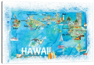 Hawaii USA Illustrated Map With Main Roads Landmarks And Highlights Canvas Art Print