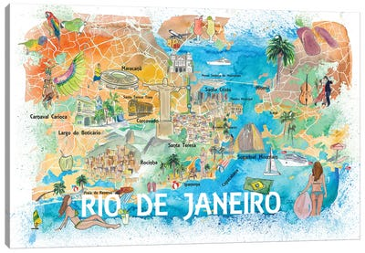 Rio De Janeiro Illustrated Map With Main Roads Landmarks And Highlights Canvas Art Print