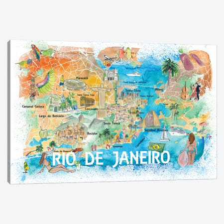 Rio De Janeiro Illustrated Map With Main Roads Landmarks And Highlights Canvas Print #MMB135} by Markus & Martina Bleichner Canvas Wall Art