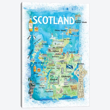 Scotland Illustrated Map With Landmarks And Highlights Canvas Print #MMB136} by Markus & Martina Bleichner Canvas Artwork