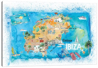 Ibiza Spain Illustrated Map With Landmarks And Highlights Canvas Art Print