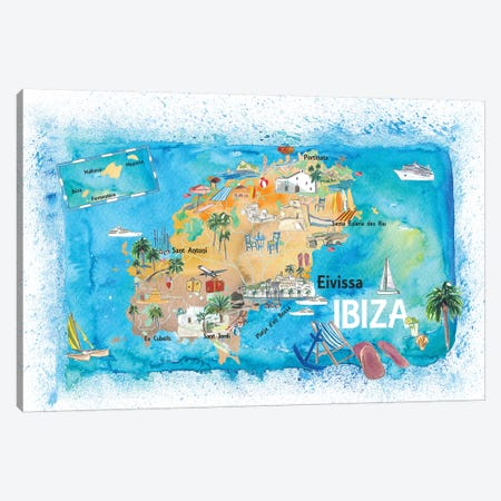 Ibiza Spain Illustrated Map With Landmarks And Highlights Canvas Print #MMB137} by Markus & Martina Bleichner Canvas Wall Art