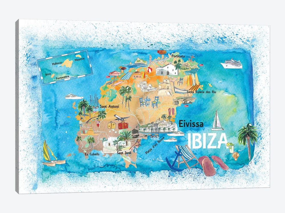Ibiza Spain Illustrated Map With Landmarks And Highlights by Markus & Martina Bleichner 1-piece Canvas Wall Art