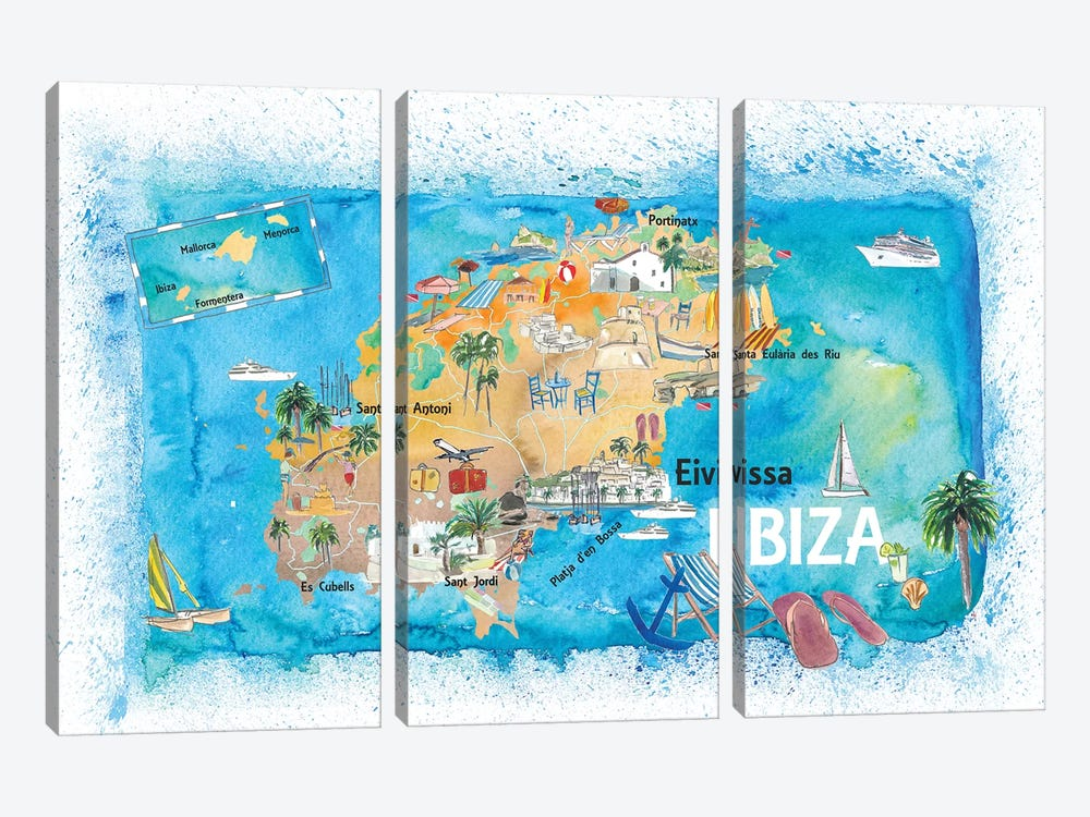 Ibiza Spain Illustrated Map With Landmarks And Highlights by Markus & Martina Bleichner 3-piece Canvas Art