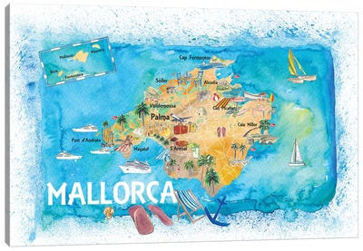 Mallorca Spain Illustrated Map With Landmarks And Highlights Canvas Art Print