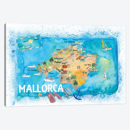 Mallorca Spain Illustrated Map With Landmarks And Highlights Canvas Print #MMB138} by Markus & Martina Bleichner Canvas Art Print