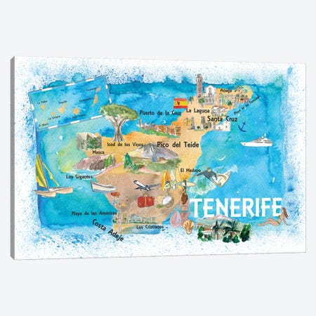 Tenerife Canarias Spain Illustrated Map With Landmarks And Highlights Canvas Print #MMB139} by Markus & Martina Bleichner Canvas Print