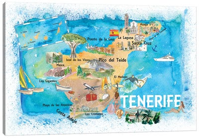 Tenerife Canarias Spain Illustrated Map With Landmarks And Highlights Canvas Art Print