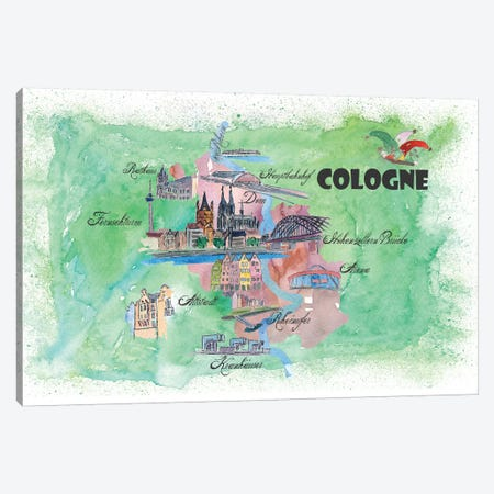 Cologne, Germany Travel Poster 3-Piece Canvas #MMB13} by Markus & Martina Bleichner Canvas Art