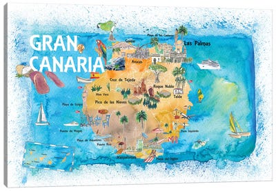 Gran Canary Canarias Spain Illustrated Map With Landmarks And Highlights Canvas Art Print