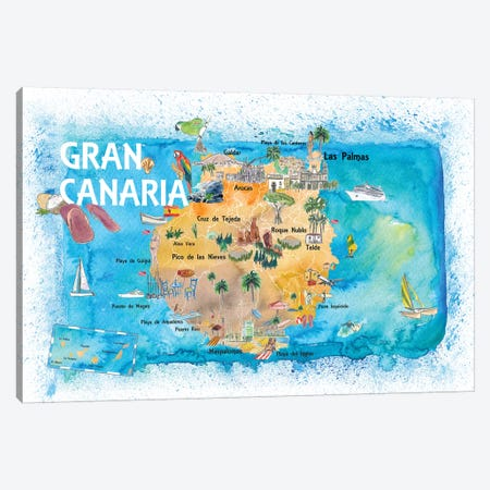 Gran Canary Canarias Spain Illustrated Map With Landmarks And Highlights Canvas Print #MMB140} by Markus & Martina Bleichner Canvas Wall Art