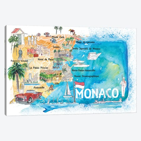 Monaco Monte Carlo Illustrated Map With Landmarks And Highlights Canvas Print #MMB141} by Markus & Martina Bleichner Canvas Wall Art