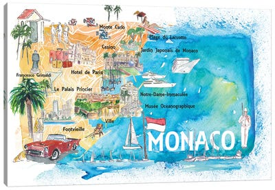 Monaco Monte Carlo Illustrated Map With Landmarks And Highlights Canvas Art Print