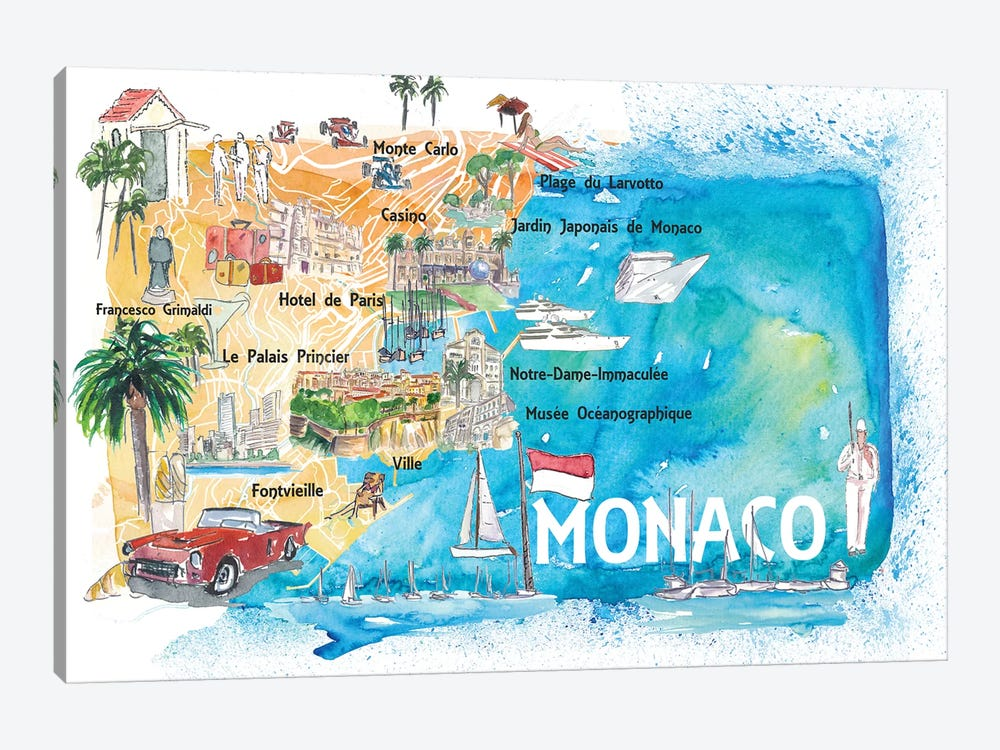 Monaco Monte Carlo Illustrated Map With Landmarks And Highlights by Markus & Martina Bleichner 1-piece Canvas Art Print