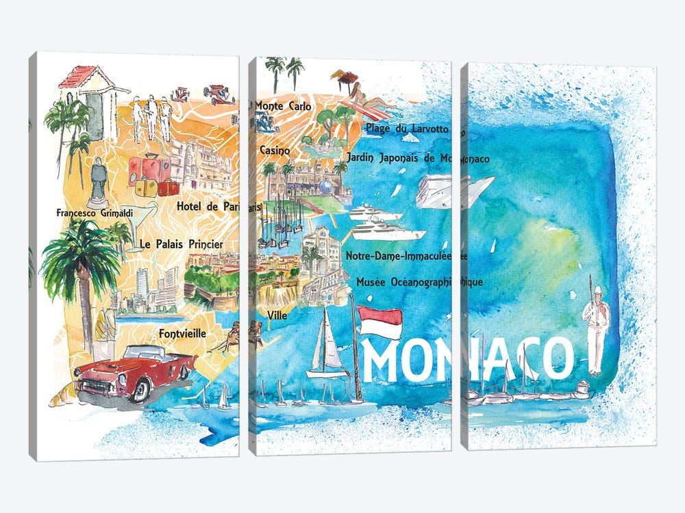 Monaco Monte Carlo Illustrated Map With Landmarks And Highlights by Markus & Martina Bleichner 3-piece Canvas Art Print