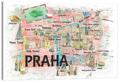Prague Czech Republic Illustrated Map With Landmarks And Highlights Canvas Art Print