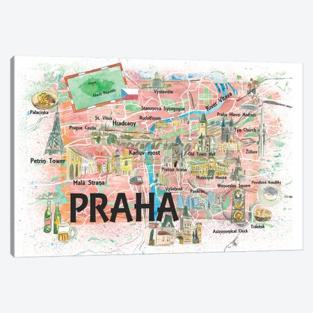 Prague Czech Republic Illustrated Map With Landmarks And Highlights Canvas Print #MMB142} by Markus & Martina Bleichner Canvas Art