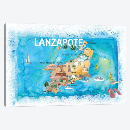 Lanzarote Canarias Spain Illustrated Map with Landmarks and Highlights Canvas Print #MMB143} by Markus & Martina Bleichner Canvas Art