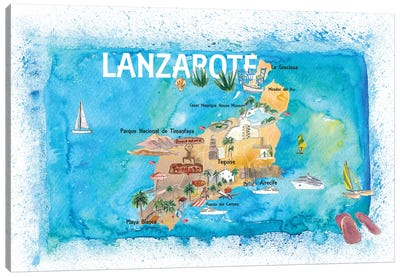 Lanzarote Canarias Spain Illustrated Map with Landmarks and Highlights Canvas Art Print