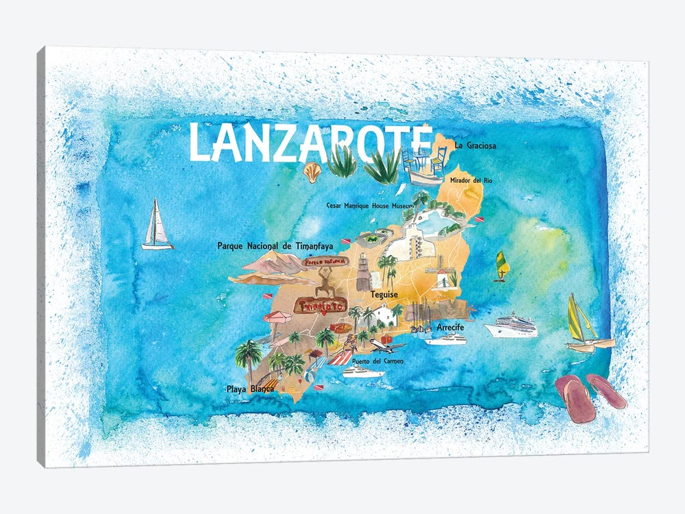 Lanzarote Canarias Spain Illustrated Map with Landmarks and Highlights by Markus & Martina Bleichner 1-piece Art Print
