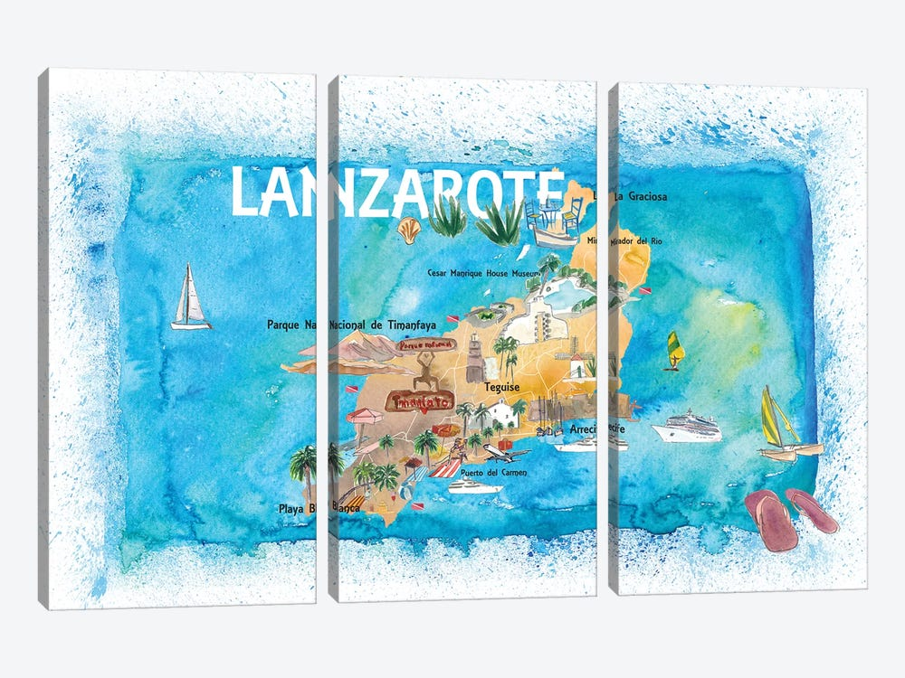 Lanzarote Canarias Spain Illustrated Map with Landmarks and Highlights by Markus & Martina Bleichner 3-piece Art Print