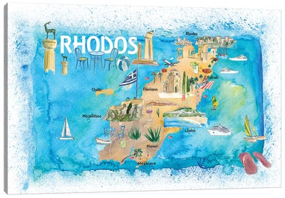 Rhodes Greece Illustrated Map with Landmarks and Highlights Canvas Art Print