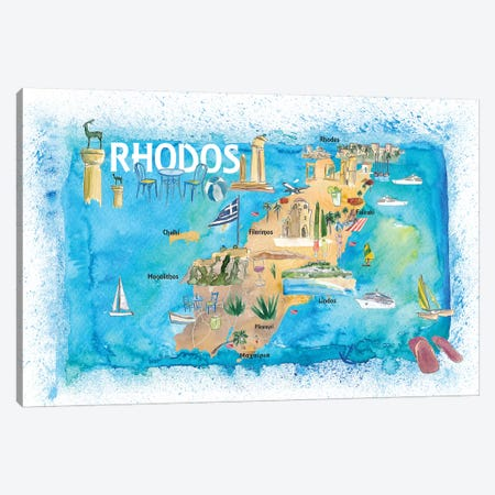 Rhodes Greece Illustrated Map with Landmarks and Highlights Canvas Print #MMB144} by Markus & Martina Bleichner Art Print