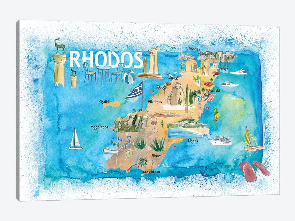 Rhodes Greece Illustrated Map with Landmarks and Highlights by Markus & Martina Bleichner 1-piece Canvas Art