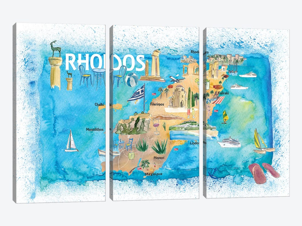 Rhodes Greece Illustrated Map with Landmarks and Highlights by Markus & Martina Bleichner 3-piece Canvas Art