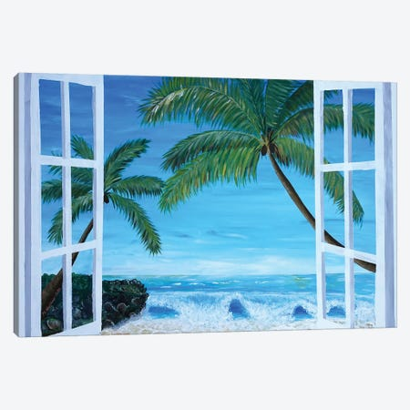 Caribbean Hideaway Seaview Window Dreams 3-Piece Canvas #MMB145} by Markus & Martina Bleichner Canvas Art Print