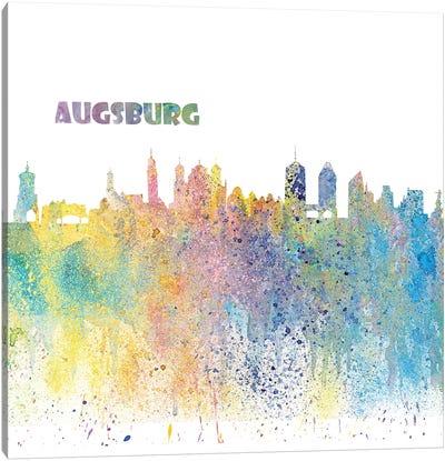 Augsburg Germany Skyline Impressionistic Splash Canvas Art Print