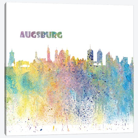 Augsburg Germany Skyline Impressionistic Splash Canvas Print #MMB147} by Markus & Martina Bleichner Art Print
