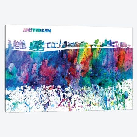 Amsterdam Skyline Impressionistic Splash Canvas Print #MMB149} by Markus & Martina Bleichner Canvas Wall Art
