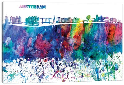 Amsterdam Skyline Impressionistic Splash Canvas Art Print